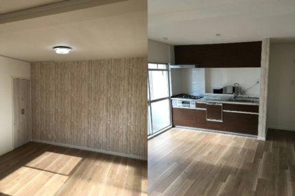洋間のキッチンと和室の壁を撤去して洋室のリビングダイニングにリフォーム